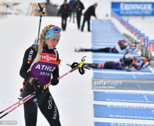 Elisa Gasparin of Switzerland takes part in a training session at the biathlon stadion in Hochfilzen Austria on February 8 prior to the Biathlon...