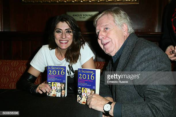 Elisa Isoardi and Claudio Lippi attend the presentation of 'Il Salvatori 2016' song dictionary at Hard Rock Cafe on December 9 2015 in Rome Italy