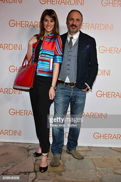 Elisa Isoardi and Roberto Braccialini attend the Gherardini presentation during Milan fashion Week on February 21 2014 in Milan Italy