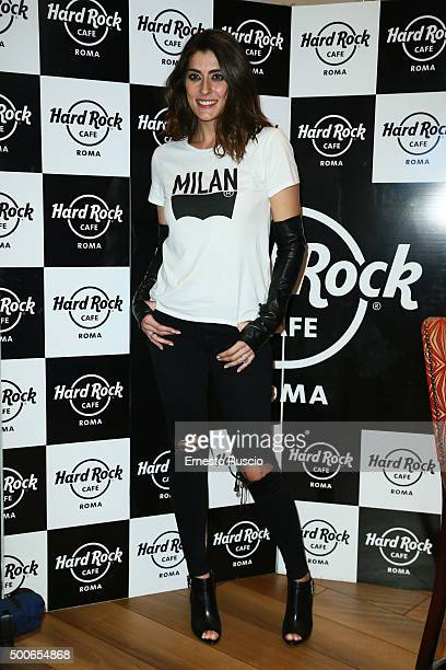 Elisa Isoardi attends the presentation of 'Il Salvatori 2016' song dictionary at Hard Rock Cafe on December 9 2015 in Rome Italy