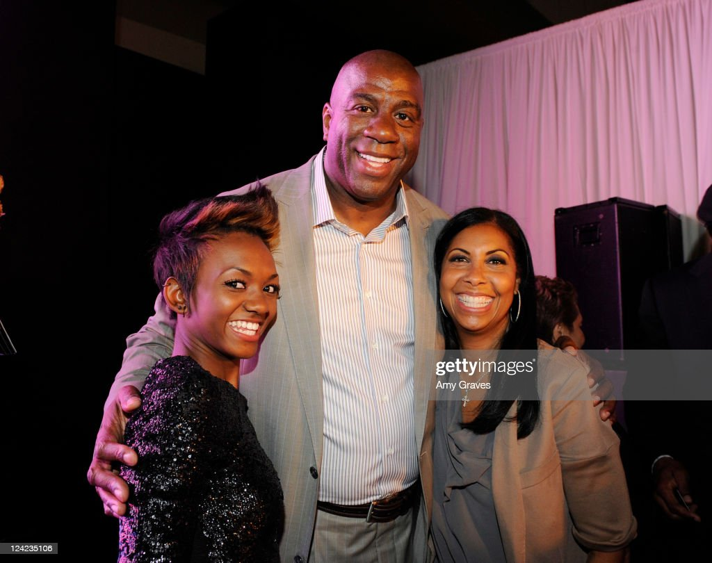 Elisa Johnson, Magic Johnson and <a gi-track='captionPersonalityLinkClicked' href=/galleries/search?phrase=Cookie+Johnson&family=editorial&specificpeople=846852 ng-click='$event.stopPropagation()'>Cookie Johnson</a> attend Fashion's Night Out celebration at Westfield Century City on September 8, 2011 in Los Angeles, California.