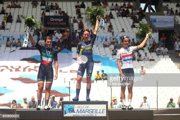 Elisa Longo Borghini of Italy and Wiggle High5 Annemiek van Vleuten of The Netherlands and Orica Scott and Elizabeth Deignan of Great Britain and...