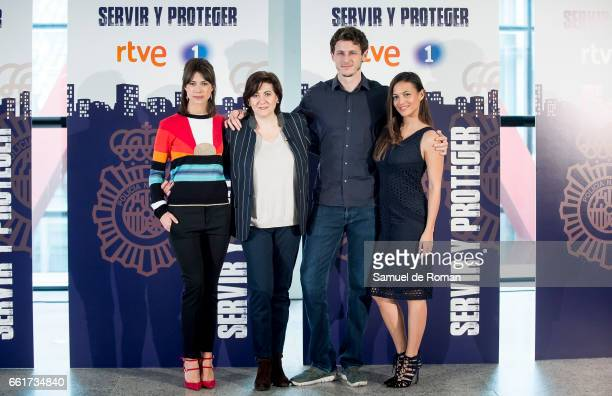 Elisa Mouliaa Nicolas Coronado Luisa Martin and Andrea del Rio attends a Servir y Proteger photocall on March 31 2017 in Burgos Spain