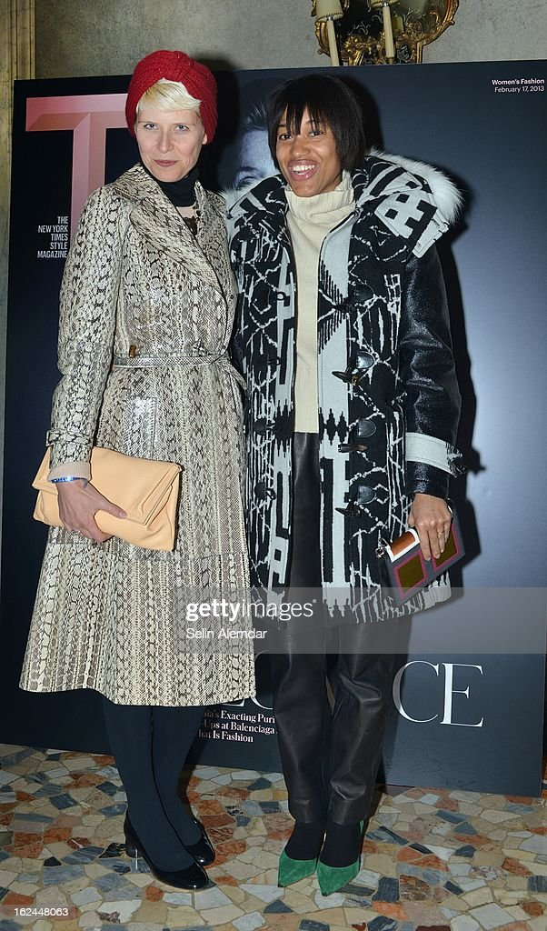 Elisa Nalin and Tamu McPherson attend Deborah Needleman's New York Times inaugural issue party during Milan Fashion Week Womenswear Fall/Winter 2013/14 on February 23, 2013 in Milan, Italy.