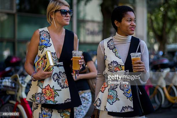 Elisa Nalin and Tamu McPherson wearing Sportmax during Milan Fashion Week Spring/Summer 16 on September 25 2015 in Milan Italy