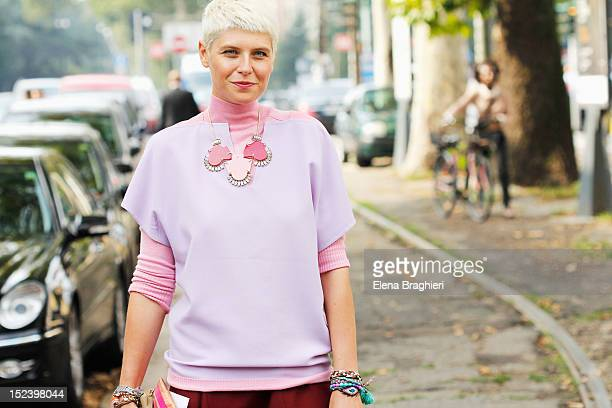 Elisa Nalin attends the Gucci show wearing a Uniqueness necklace during Milan Fashion Week Womenswear Spring/Summer 2013 on September 19 2012 in...