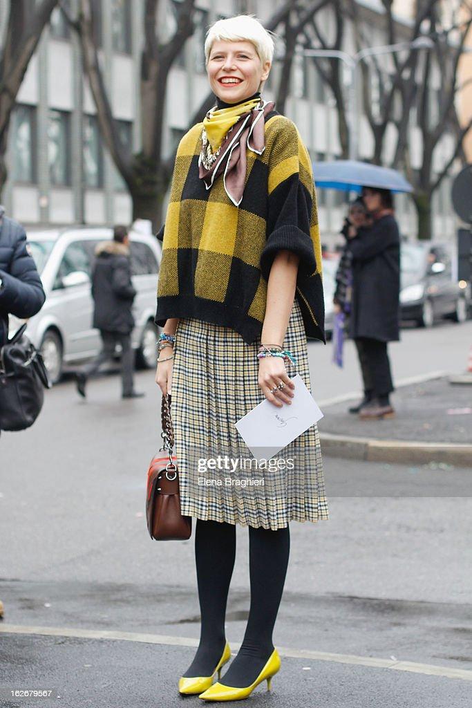 Elisa Nalin attends the Milan Fashion Week Womenswear Fall/Winter 2013/14 on February 25, 2013 in Milan, Italy.