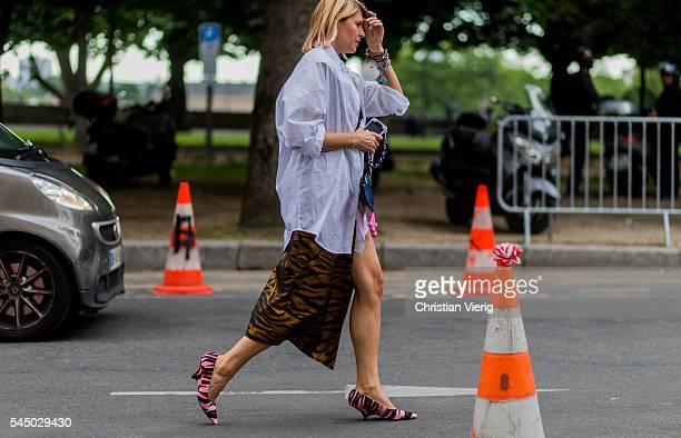 Elisa Nalin wearing Kenzo shoes skirt and bag outside Giambattista Valli during Paris Fashion Week Haute Couture F/W 2016/2017 on July 4 2016 in...