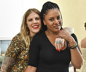 Elisa Panic and January Neal pose for portrait at Rainbeau Mars E Book Brunch Celebration on July 22 2016 in Beverly Hills California