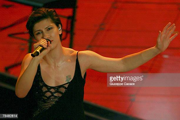 Elisa performs on stage during the fourth day of the 57th Sanremo Music Festival at Tetro Ariston on March 2 2007 in Sanremo Italy