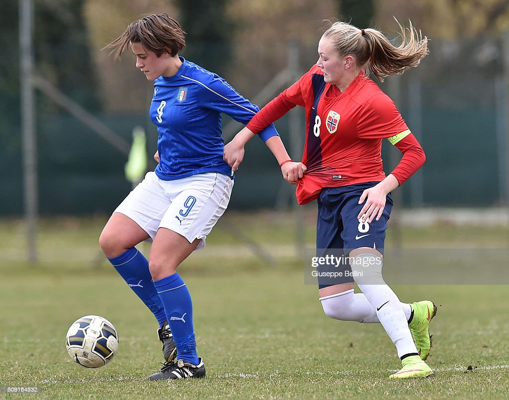 Elisa Polli of Italy and Frida Maanum of Norway in action during the Women's U17 international friendly match between Italy and Norway on February 9, 2016 in Cervia, Italy.