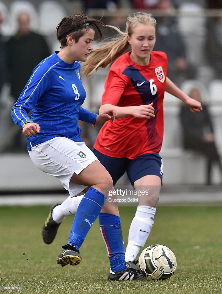 Elisa Polli of Italy and Noor Eckhoff of Norway in action during the Women's U17 international friendly match between Italy and Norway on February 9, 2016 in Cervia, Italy.
