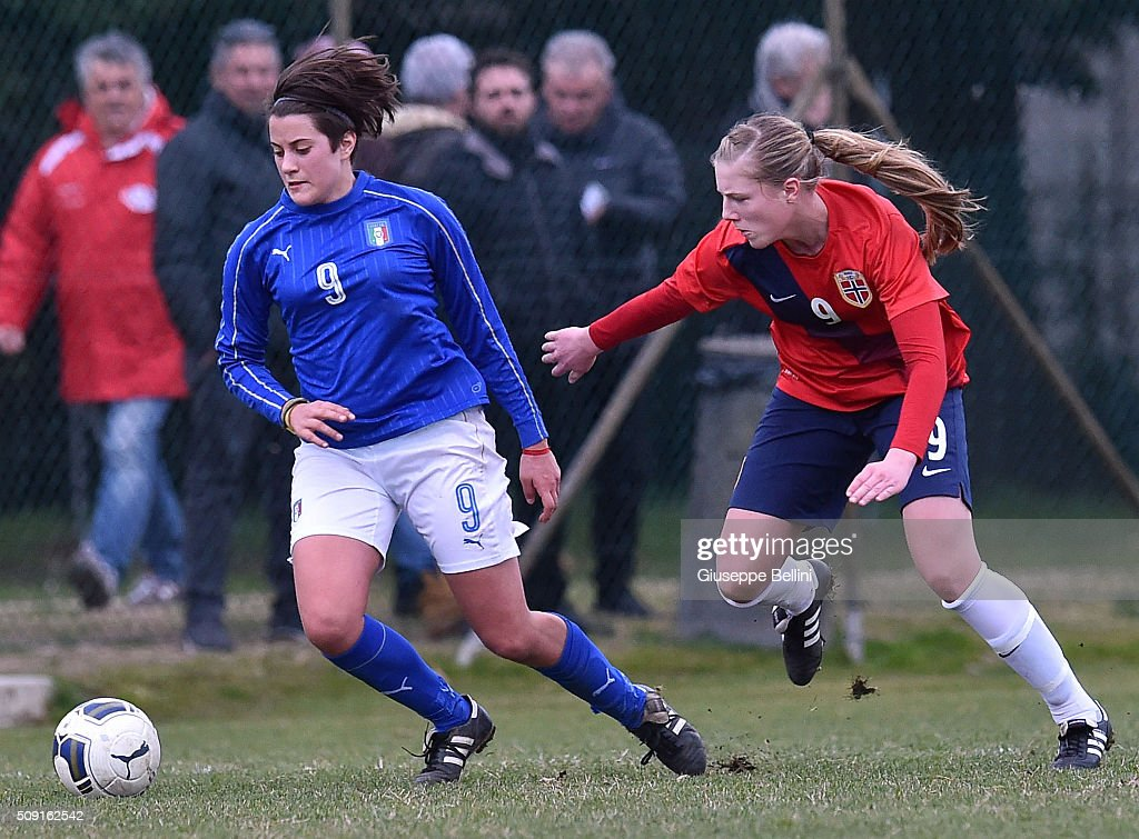 Elisa Polli of Italy and Sophia Haug of Norway in action during the Women's U17 international friendly match between Italy and Norway on February 9, 2016 in Cervia, Italy.