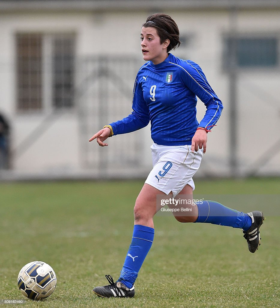 Elisa Polli of Italy in action during the Women's U17 international friendly match between Italy and Norway on February 9, 2016 in Cervia, Italy.