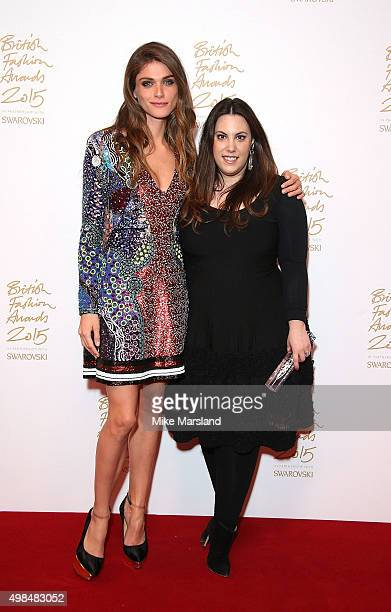 Elisa Sednaoui and Mary Katrantzou pose in the Winners Room at the British Fashion Awards 2015 at London Coliseum on November 23 2015 in London...