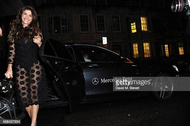 Elisa Sednaoui arrives in style in a MercedesBenz at the Harper's Woman of the Year Awards at Claridge's Hotel on November 4 2014 in London England