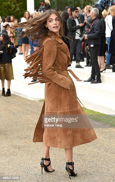 Elisa Sednaoui attends the Burberry Prorsum show during London Fashion Week Spring/Summer 2016/17 at Kensington Gardens on September 21 2015 in...