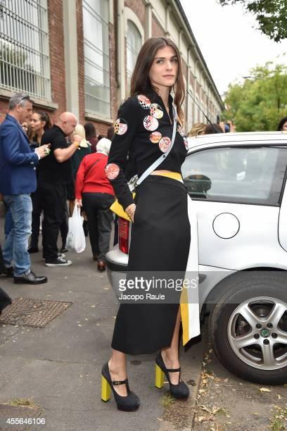 Elisa Sednaoui leaves Fendi Fashion Show during Milan Fashion Week Womenswear Spring/Summer 2015 on September 18 2014 in Milan Italy