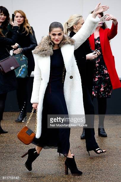 Elisa Sednaoui Newton seen arriving at the A/W 16 Burberry Catwalk Show at Kensington Gardens on February 22 2016 in London England
