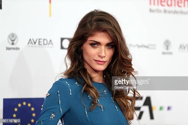 Elisa Sednaoui wearing a blue dress by Prada during the European Film Awards 2015 at Haus Der Berliner Festspiele on December 12 2015 in Berlin...