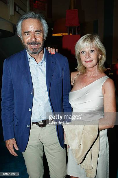 Elisa Servier and her husband attend 'Open Space' Premiere At Theatre du Rond Point on September 10 2014 in Paris France