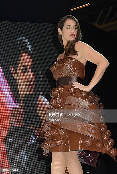 Elisa Tovati dressed by Christelle Brua Frederic Anton and Sonia Philippot attends the Salon Du Chocolat 2014 Fashion Chocolate Show at Parc des...