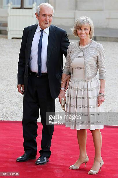 Elisabeth and Jean Louis Guigou attend State Dinner In Honor Of Sheikh Tamim Bin Hamad AlThani Emir of Qatar at Elysee Palace on June 23 2014 in...