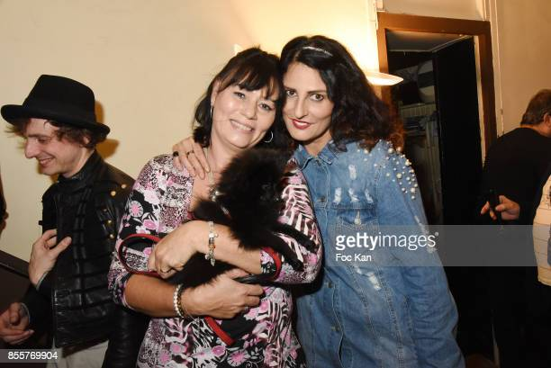 Elisabeth Deshayes her dog Nala and Sylvie Ortega Munos attend the Henry Achkoyan Shop Opening on September 29 2017 in Paris France