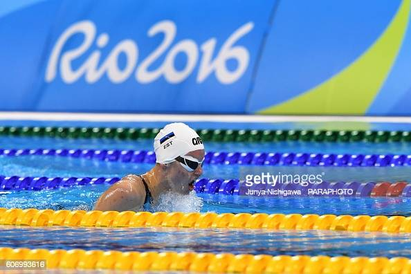 Elisabeth Egel of Estonia competes in the Women's 200m IM SM11 Final on day 9 of the Rio 2016 Paralympic Games at Olympic Aquatics Stadium on...