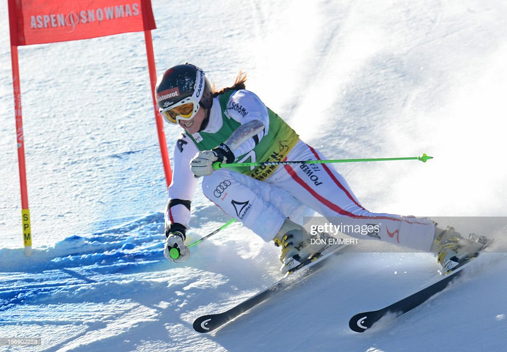 Elisabeth Goergl of Austria clears a gate during the first run of the women's World Cup giant slalom in Aspen on November 24, 2012. AFP PHOTO/Don EMMERT