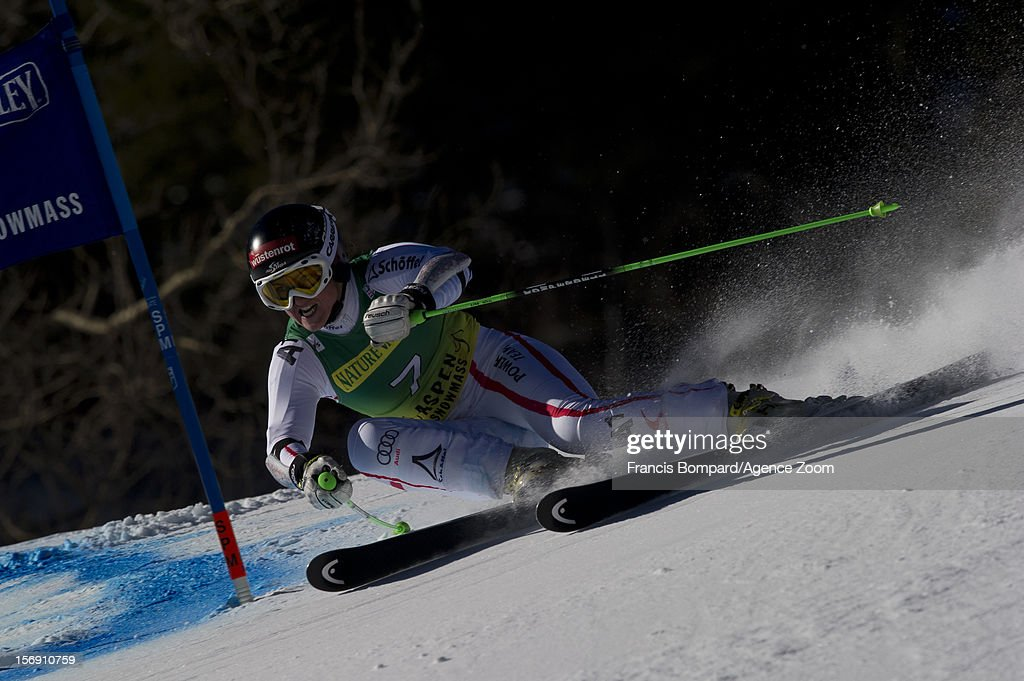 <a gi-track='captionPersonalityLinkClicked' href=/galleries/search?phrase=Elisabeth+Goergl&family=editorial&specificpeople=767488 ng-click='$event.stopPropagation()'>Elisabeth Goergl</a> of Austria competes during the Audi FIS Alpine Ski World Cup Women's Giant Slalom on November 24, 2012 in Aspen, Colorado.