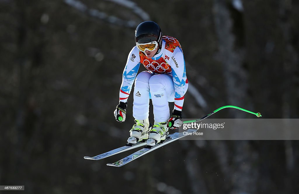 Elisabeth Goergl of Austria in action during training for the Alpine Skiing Women's Downhill ahead of the Sochi 2014 Winter Olympics at Rosa Khutor Alpine Center on February 7, 2014 in Sochi, Russia.