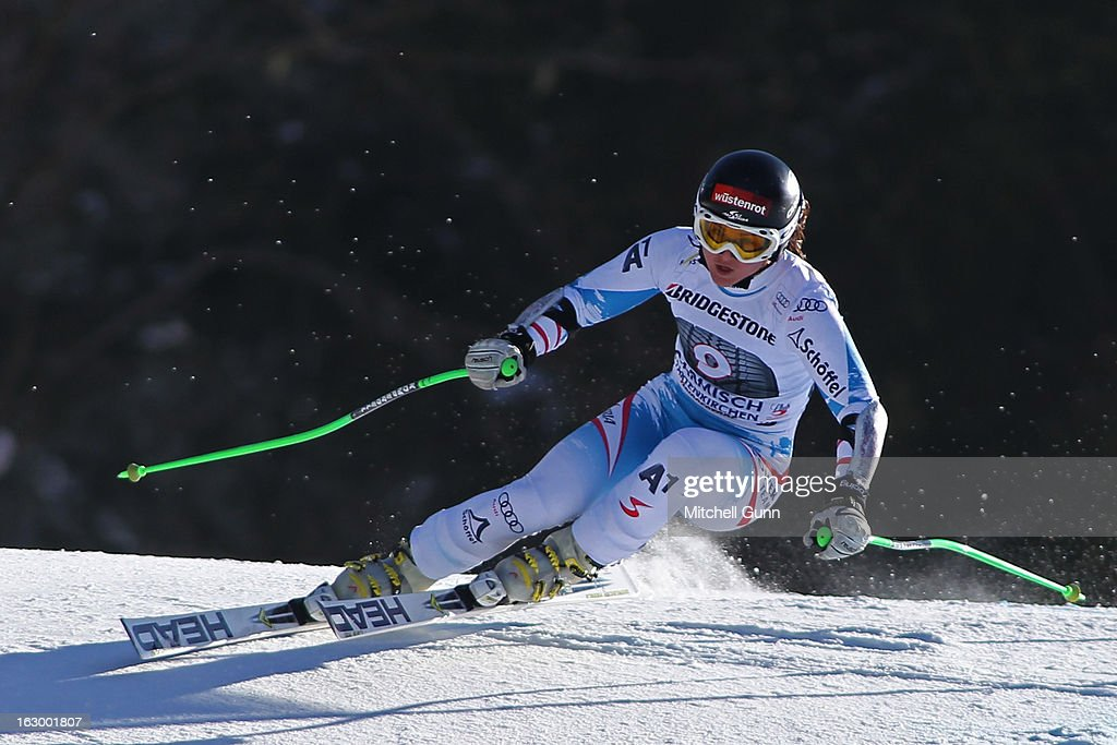<a gi-track='captionPersonalityLinkClicked' href=/galleries/search?phrase=Elisabeth+Goergl&family=editorial&specificpeople=767488 ng-click='$event.stopPropagation()'>Elisabeth Goergl</a> of Austria races down the hill whilst competing in the Audi FIS Ski World Cup Super-G race on March 03, 2013 in Garmisch Partenkirchen, Germany.