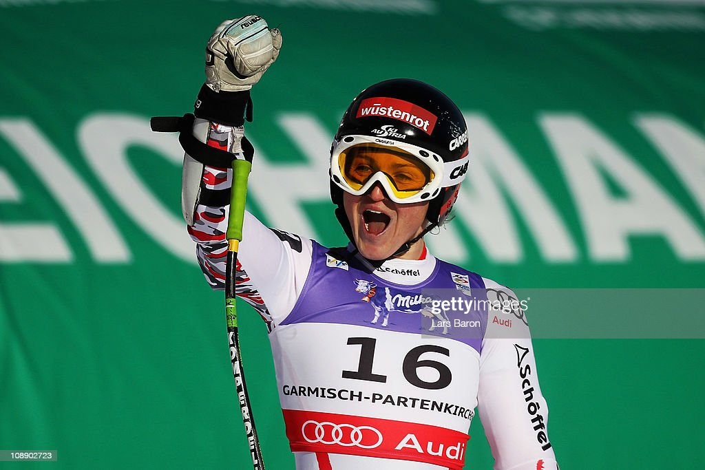 <a gi-track='captionPersonalityLinkClicked' href=/galleries/search?phrase=Elisabeth+Goergl&family=editorial&specificpeople=767488 ng-click='$event.stopPropagation()'>Elisabeth Goergl</a> of Austria reacts in the finish area after competing in the Women's Super G during the Alpine FIS Ski World Championships on the Kandahar course on February 8, 2011 in Garmisch-Partenkirchen, Germany.