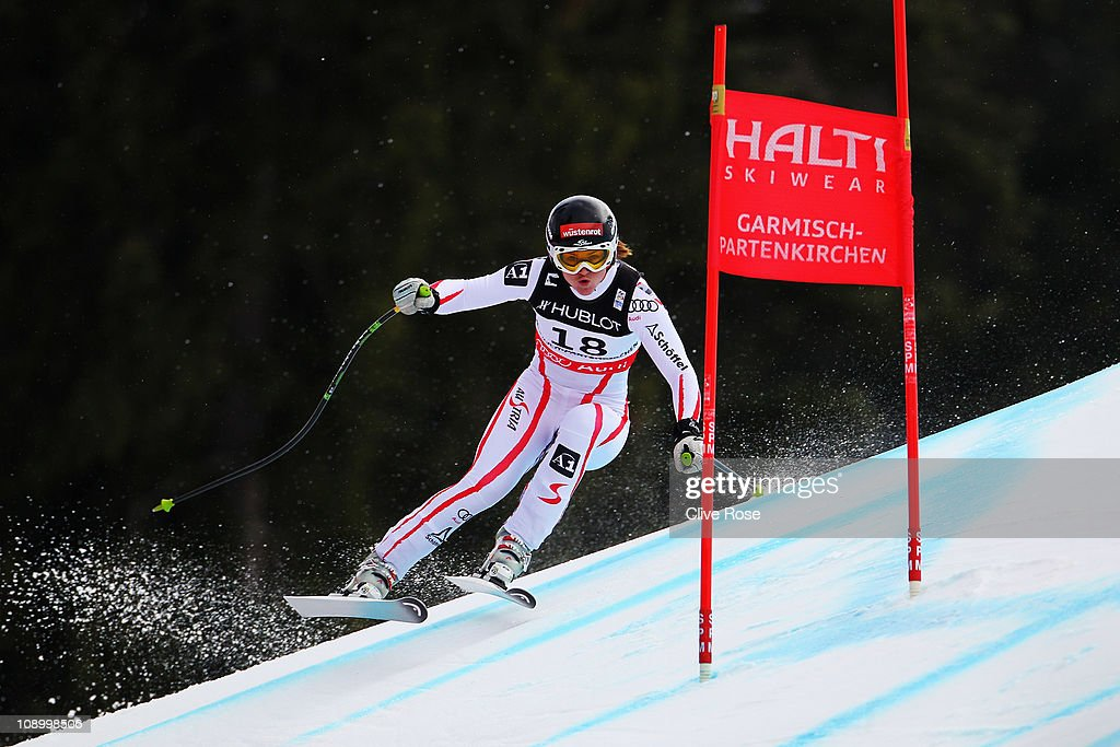 <a gi-track='captionPersonalityLinkClicked' href=/galleries/search?phrase=Elisabeth+Goergl&family=editorial&specificpeople=767488 ng-click='$event.stopPropagation()'>Elisabeth Goergl</a> of Austria skis in the Women's Super Combined Downhill during the Alpine FIS Ski World Championships on the Kandahar course on February 11, 2011 in Garmisch-Partenkirchen, Germany.