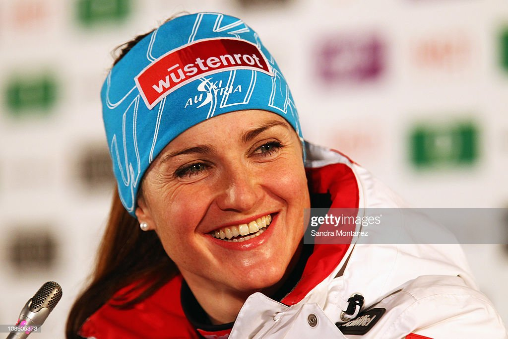 Elisabeth Goergl of Austria smiles during a press conference after taking 1st place in the Women's Super G during the Alpine FIS Ski World Championships on the Kandahar course on February 8, 2011 in Garmisch-Partenkirchen, Germany.