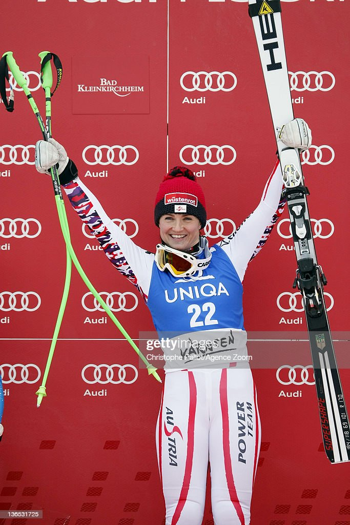 <a gi-track='captionPersonalityLinkClicked' href=/galleries/search?phrase=Elisabeth+Goergl&family=editorial&specificpeople=767488 ng-click='$event.stopPropagation()'>Elisabeth Goergl</a> of Austria takes 1st place during the Audi FIS Alpine Ski World Cup Women's Downhill on January 7, 2012 in Bad Kleinkirchheim, Austria.