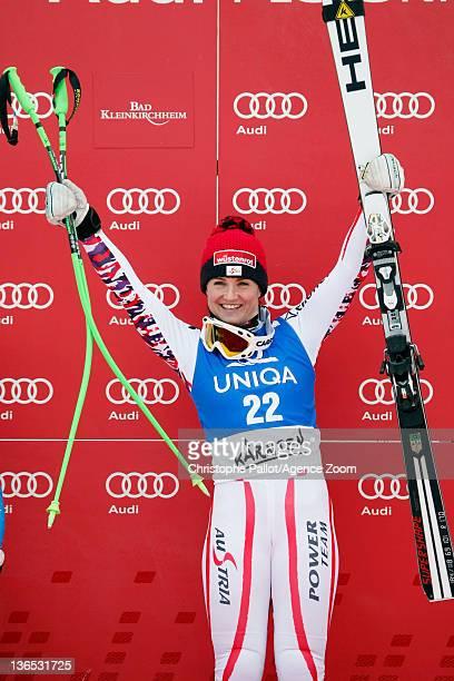 Elisabeth Goergl of Austria takes 1st place during the Audi FIS Alpine Ski World Cup Women's Downhill on January 7 2012 in Bad Kleinkirchheim Austria
