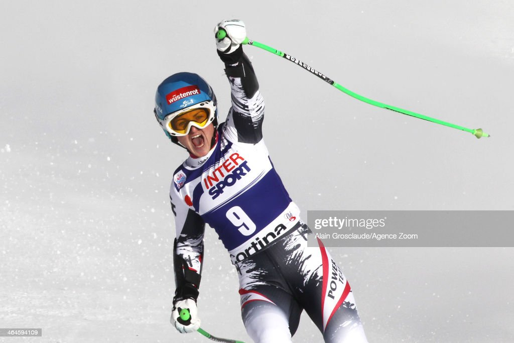 Elisabeth Goergl of Austria takes 1st place during the Audi FIS Alpine Ski World Cup Women's Super-G on January 23, 2014 in Cortina d'Ampezzo, Italy.