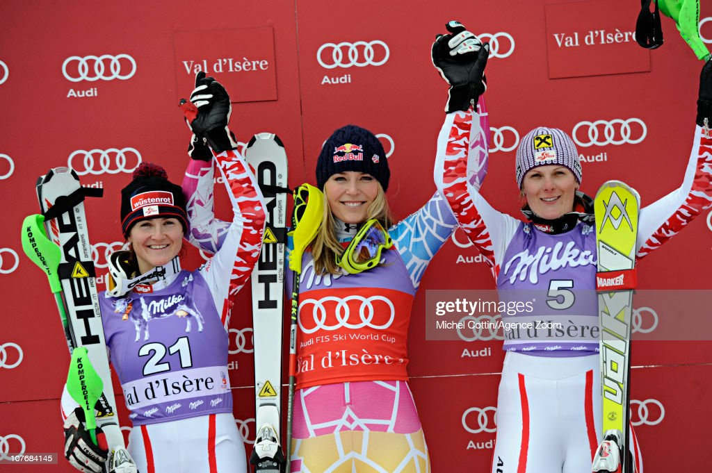 <a gi-track='captionPersonalityLinkClicked' href=/galleries/search?phrase=Elisabeth+Goergl&family=editorial&specificpeople=767488 ng-click='$event.stopPropagation()'>Elisabeth Goergl</a> of Austria takes 2nd place, <a gi-track='captionPersonalityLinkClicked' href=/galleries/search?phrase=Lindsey+Vonn&family=editorial&specificpeople=4668171 ng-click='$event.stopPropagation()'>Lindsey Vonn</a> of the USA takes 1st place, <a gi-track='captionPersonalityLinkClicked' href=/galleries/search?phrase=Nicole+Hosp&family=editorial&specificpeople=226750 ng-click='$event.stopPropagation()'>Nicole Hosp</a> of Austria takes 3rd place during the Audi FIS World Cup Alpine women's super-combined slalom race on December 19, 2010 in Val d'Isere, France.