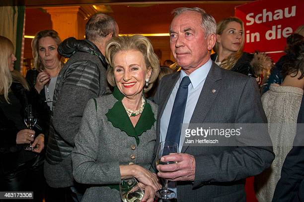Elisabeth Guertler and skier legend Karl Schranz pose during 'welcome party' of the Seefelder Kristallzauber 2015 on February 6 2015 in Seefeld in...