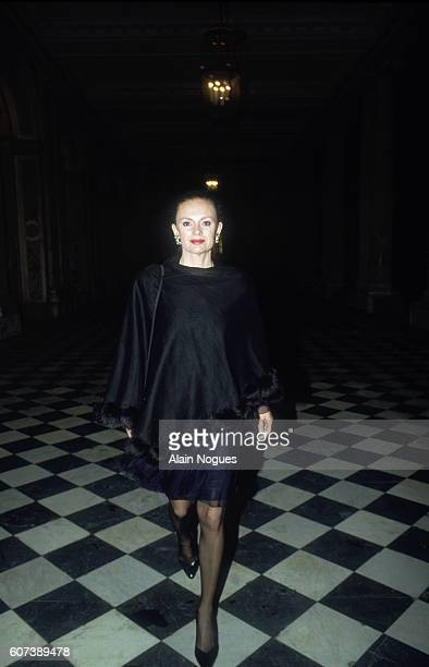 Elisabeth Guigou French secretary of state for European affairs arrives at a reception for Russian president Boris Yeltsin at the Grand Trianon in...