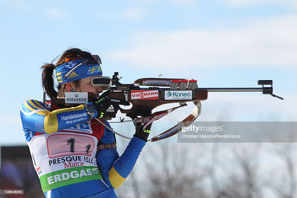 Elisabeth Hoegberg of Sweden competes in the mixed relay during the E.ON IBU Biathlon World Cup on February 5, 2011 in Presque Isle, Maine.