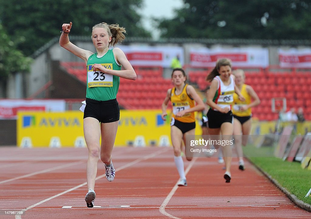 Elisabeth Hood of Dorset crosses the line to win the Junior Girls 1500 Metres during Day 2 of the Aviva English Schools Track & Field Championships at the Gateshead International Stadium on July 7 in Gateshead, England. Search Aviva Athletics on Facebook to Back the Team.