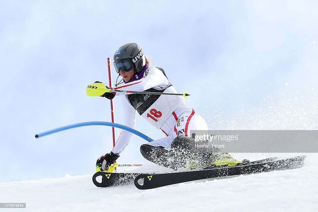 Elisabeth Kappaurer of Austria competes during the Alpine Slalom (FIS Australia New Zealand Cup) during day seven of the Winter Games NZ at Coronet Peak on August 21, 2013 in Queenstown, New Zealand.
