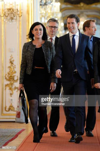 Elisabeth Koestinger General Secretary of Austrian People's Party and Austrian Foreign Minister and leader of OeVP Sebastian Kurz arrive for a...