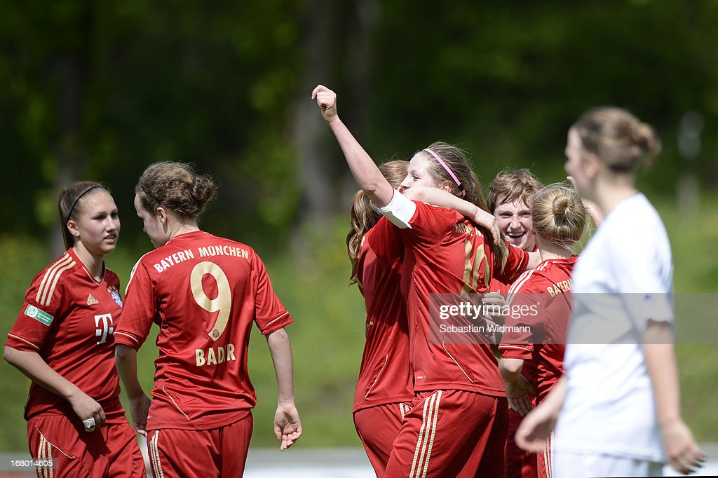 Elisabeth Mayr of Muenchen celebrates with team mates after scoring the third goal during the B Junior Girls match between Bayern Muenchen and VfL Sindelfingen at Sportpark Aschheim on May 4, 2013 in Aschheim, Germany.