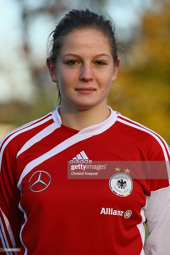 Elisabeth Mayr poses during the Germany Women's U17 team presentation at Sport School Wedau on October 27, 2012 in Duisburg, Germany.