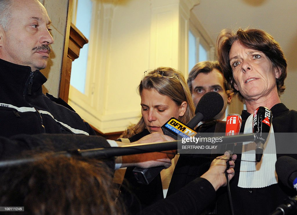 Elisabeth Meyer, one of the two lawyer of Jerome Kerviel, the French rogue trader Jerome Kerviel, whose unauthorised deals at Societe Generale cost the bank billions of euros, addresses journalists after his client was taken into custody after a court hearing on February 8, 2008 in Paris. The appeals court upheld a plea from the state prosecutor's office that Kerviel should be placed in detention, 11 days after he was released after questioning.