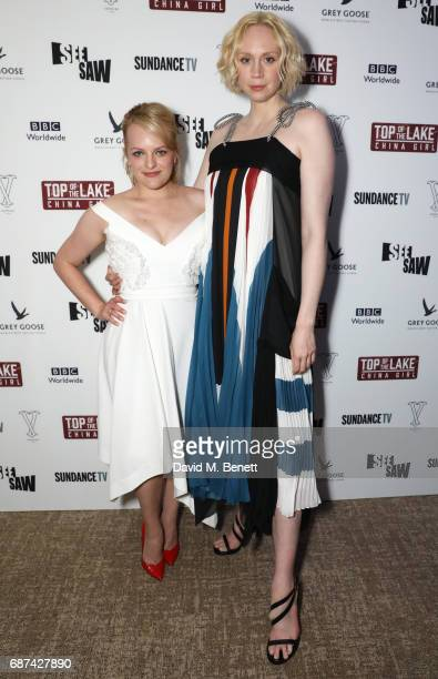 Elisabeth Moss and Gwendoline Christie attend Top of the Lake China Girl screening afterparty at Versini Cannes in partnership with Grey Goose at...